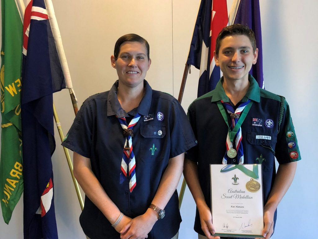 Kai Hansen receives the Australian Scout Medallion