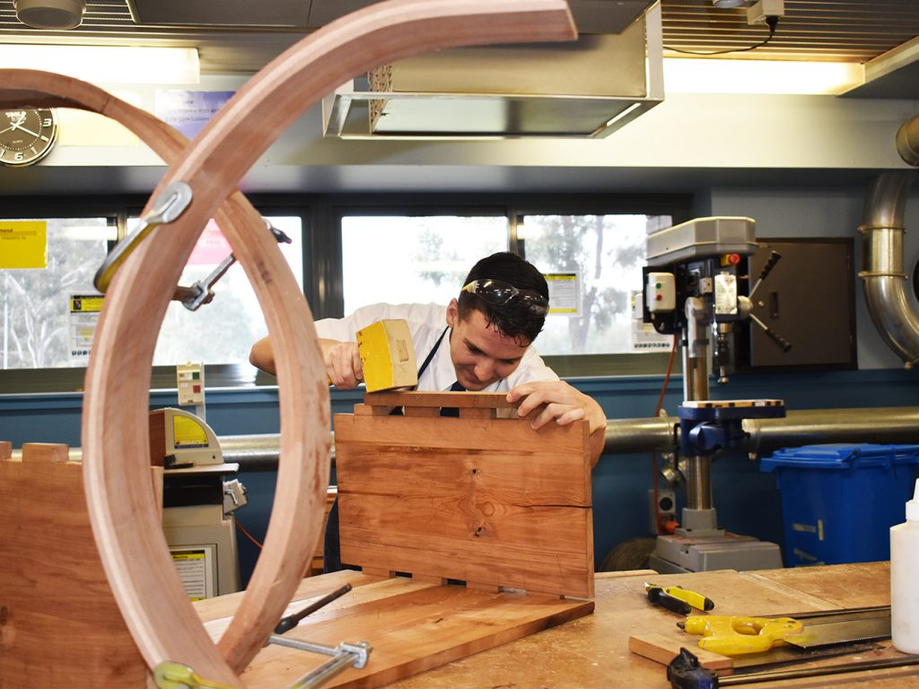 Year 12 Industrial Technology Timber Students – Back in the Workshop!